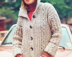 3837bbdd42d8 Instant Download PDF Vintage Row by Row Knitting Pattern to make a Ladies  Calf Length Aran Style Cardigan Coat + Collar   Pockets Bust 32-38