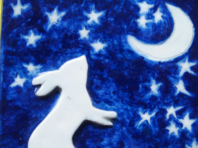 Standing rabbit, moon and stars tile