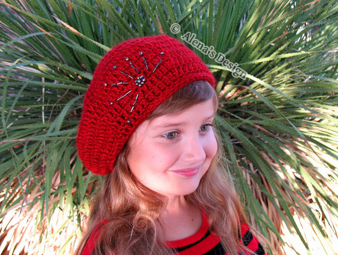 4d9eea7cb51 French Beret Crochet Pattern 144 Crochet Hat Pattern Embroidered Beaded  Beret