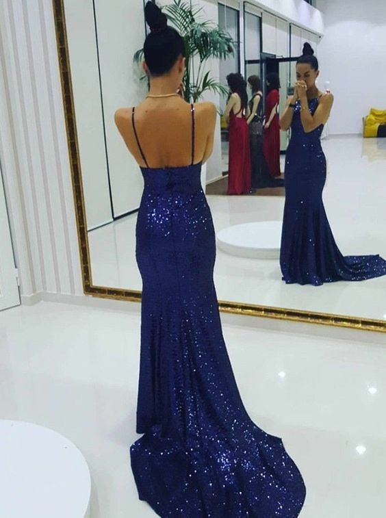 Mermaid Spaghetti Straps Sweep Train Royal Blue Sequined Sleeveless Prom Dress
