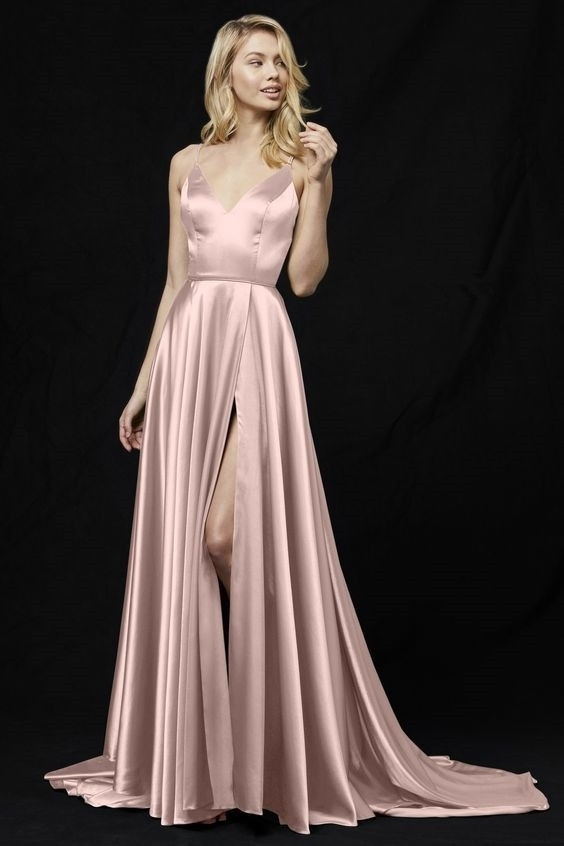 A-Line Prom Dress, V-Neck Prom Dress,Pink by prom dresses