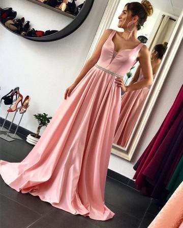 Pink Satin Floor Length Evening Dresses V-neck Prom Dresses Beaded Sashes
