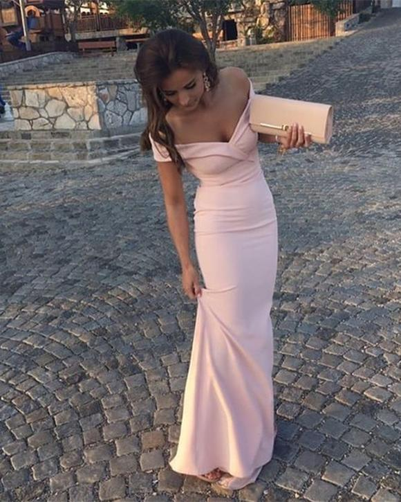 Off Shoulder Simple Prom Dress, Sexy Mermaid Prom Dresses, 2018 Long Evening