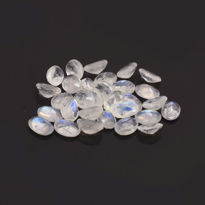 Rainbow Moonstone Faceted  Oval 7x5 Semi Precious Flawless Loose Gemstone