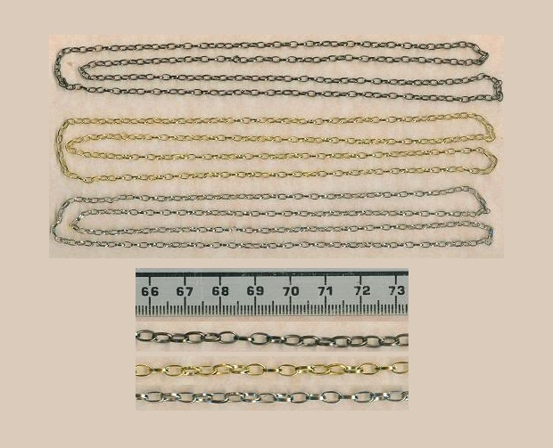 3 metres chain- goldplated, silverplated and gunmetal