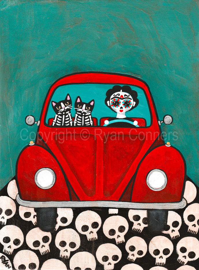 Frida and Her Skellie Cats Day of the Dead Original Cat Folk Art Acrylic