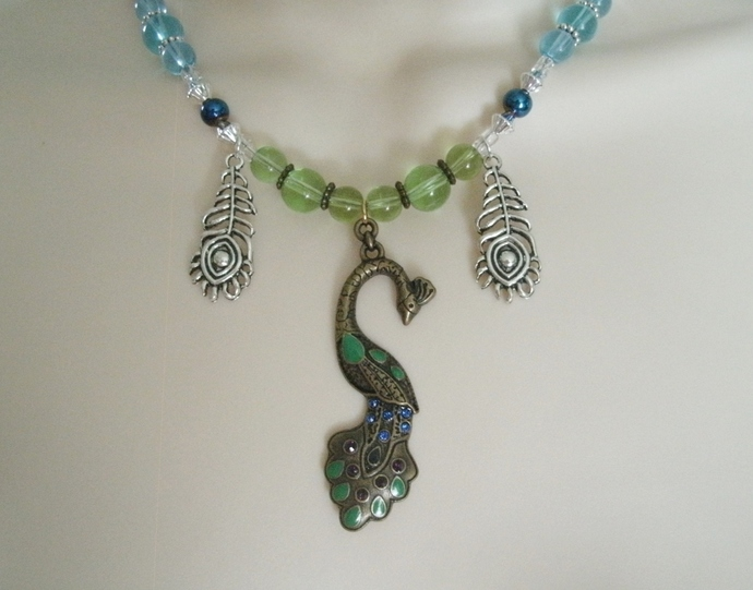 Goddess Hera Peacock Necklace wiccan pagan wicca witch witchcraft handmade