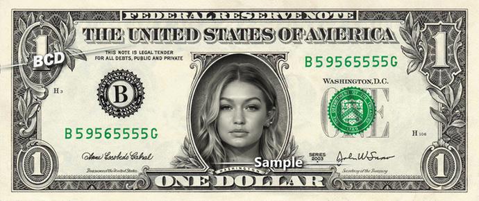 GIGI HADID on a REAL Dollar Bill Cash Money Collectible Memorabilia Celebrity