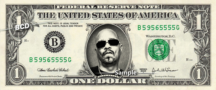 ICE T on a REAL Dollar Bill Cash Money Collectible Memorabilia Celebrity Novelty