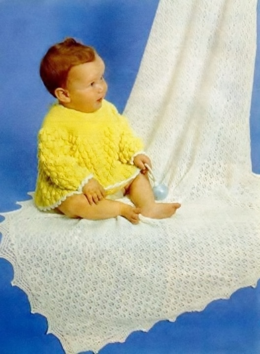 Instant Digital Download PDF Vintage Row by Row Knitting Pattern Baby Bebe Angel