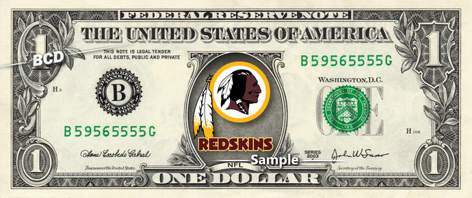 WASHINGTON REDSKINS on a REAL Dollar Bill Football NFL Cash Money Collectible