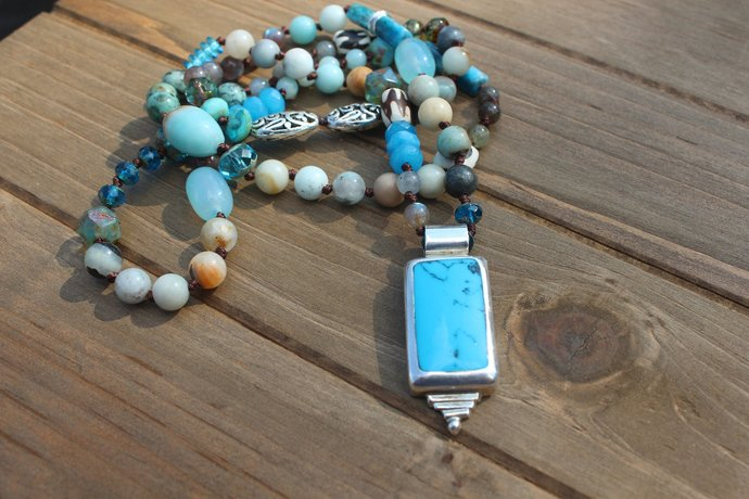 Grandma's Attic Incredible Long Beaded Necklace with Turquoise & Silver Pendant