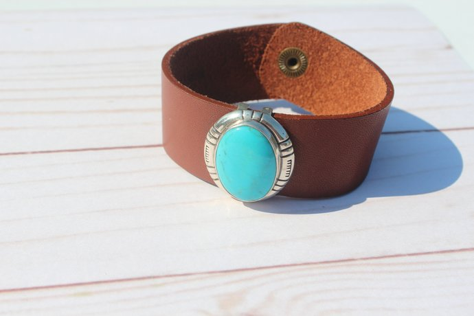 Wide Rustic Turquoise Leather Bracelet Cuff Festival Boho