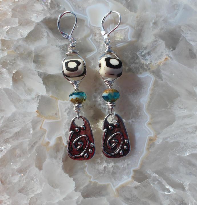 Unique Long Bone & Czech Crystal dangle Earrings Designer wire wrapped