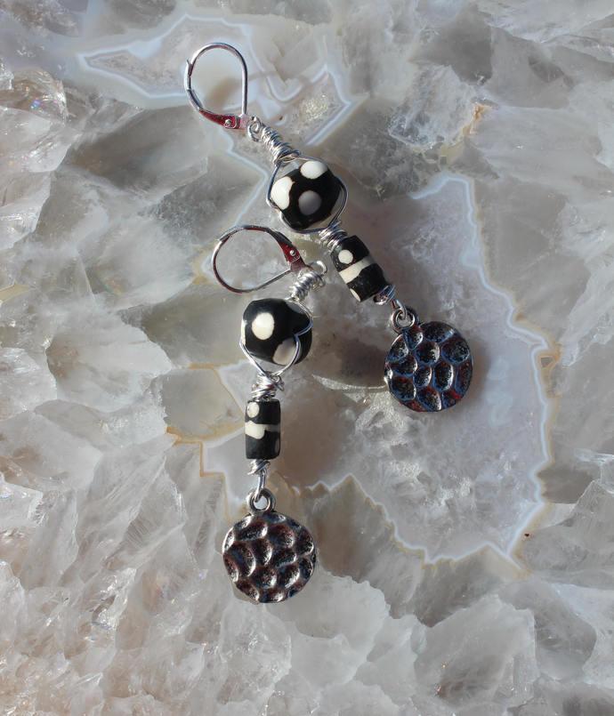 Darling Polka Dot bone Dangle Drop Earrings Long Wire Wrapped Black & White