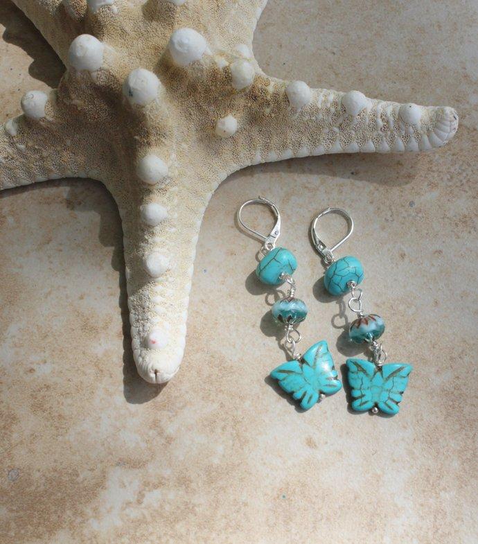 Butterfly Dangle Earrings, Turquoise Howlite with Czech Crystals, Long Earrings