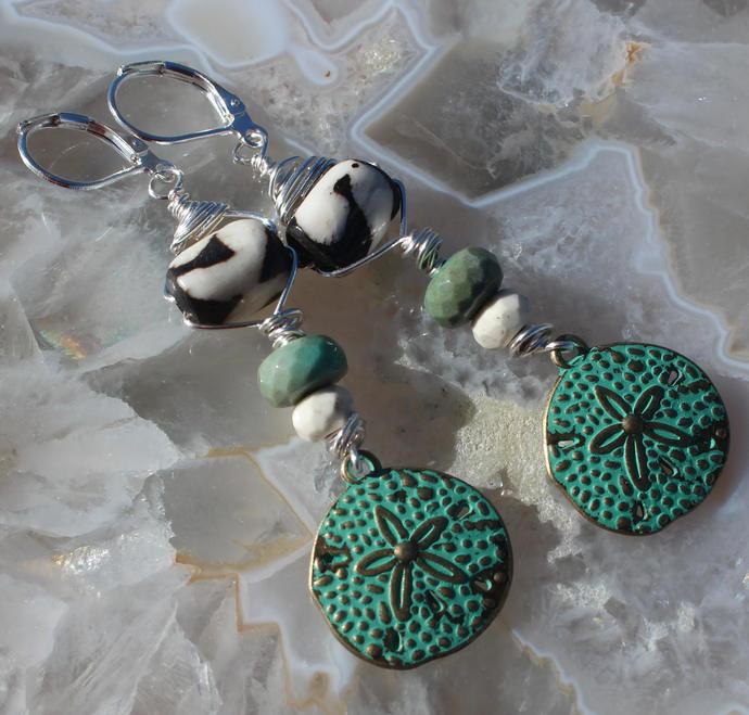 Boho Glam Earrings Patina Sand dollars Bone Chyrophase long dangle earrings