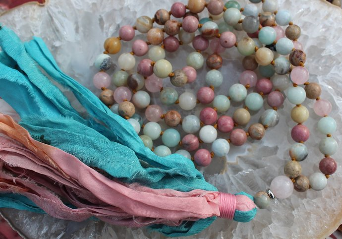 Long beaded Mala 108 Bead Necklace with tassel Gemstone Boho Glam jewelry gifts