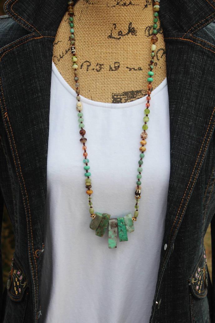 Long Chyrophase Hand Knot Bead Necklace Boho glam gemstone Czech crystal jewelry