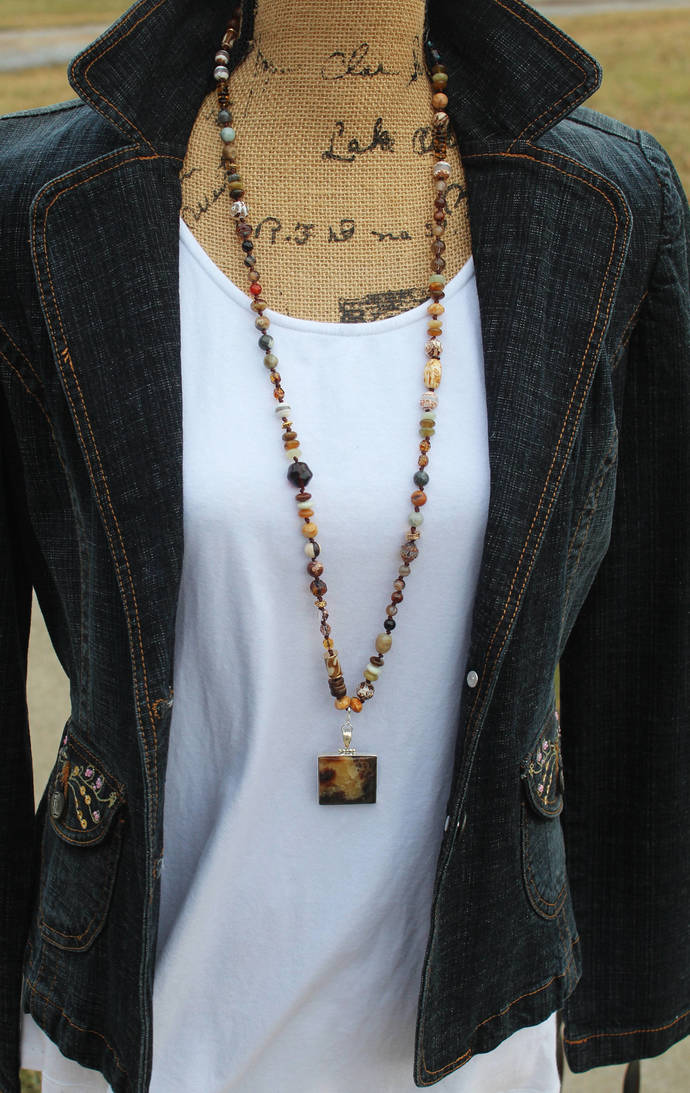 Long Beaded Necklace with Septarian Pendant Hand Knot Mother Gaia browns
