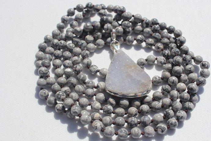 Long Gray Double wrap Beaded Necklace with Druzy Pendant Jasper Boho Glam