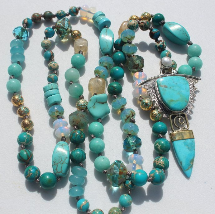 Long Beaded Necklace with Sleeping Beauty Turquoise Pendant Boho Hand knot