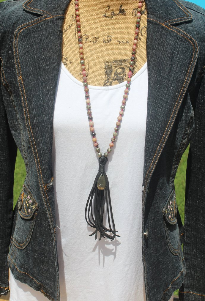 Long Beaded Necklace with Leather Tassel rhodonite Pyrite Bohemian style jewelry