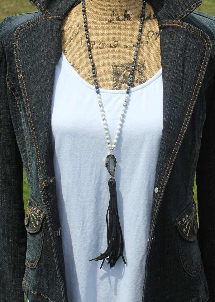 Long Beaded Necklace with Tassel Gorgeous Snowflake obsidian Black & White Agate