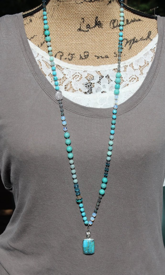 Chrysocolla Long Beaded Necklace with pendant Amazonite Bohemian stones in Blues