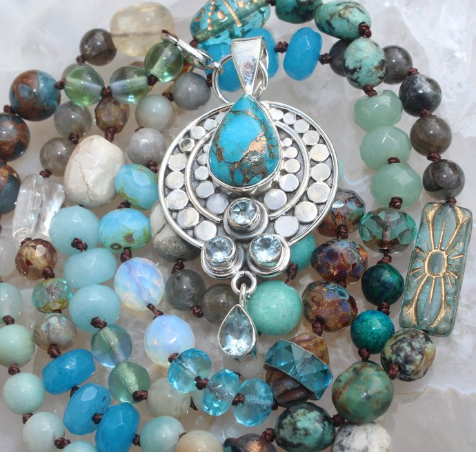 Long Turquoise Beaded Necklace with Copper Turquoise Pendant Inspired Bohemian