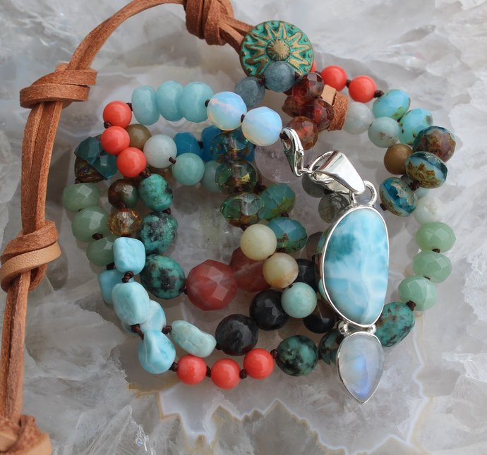 Colorful Long Beaded Gemstone Necklace with Larimar Pendant Moonstone Jewelry