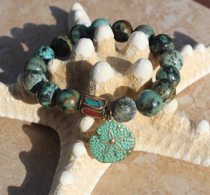 Nepal Beaded Bracelet, African Turquoise Bracelet, Big Gemstone Jewelry