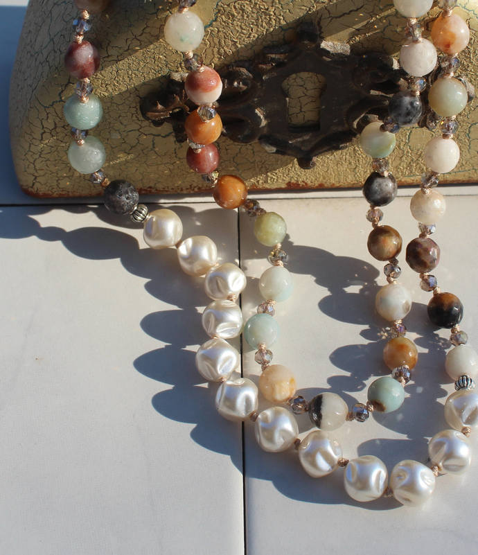 Bohemian Glam Hand knot Beaded Necklace Crystal boho Gift Pearls Neutrals to