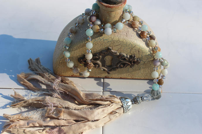 Bohemian Glam Long Beaded Necklace with Silk Tassel Hand Knot Neutral Gemstone