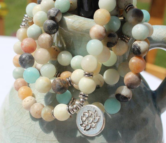108 Stretch Wrap Mala Bracelet Amazonite Lotus Jewelry gifts