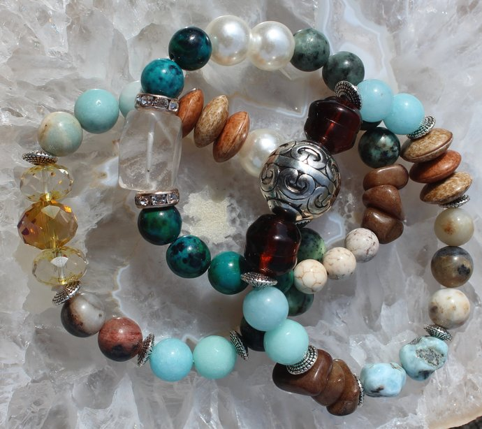 Gorgeous Beaded Bracelet Set Stretch Layering Jewelry gifts by Inarajewels
