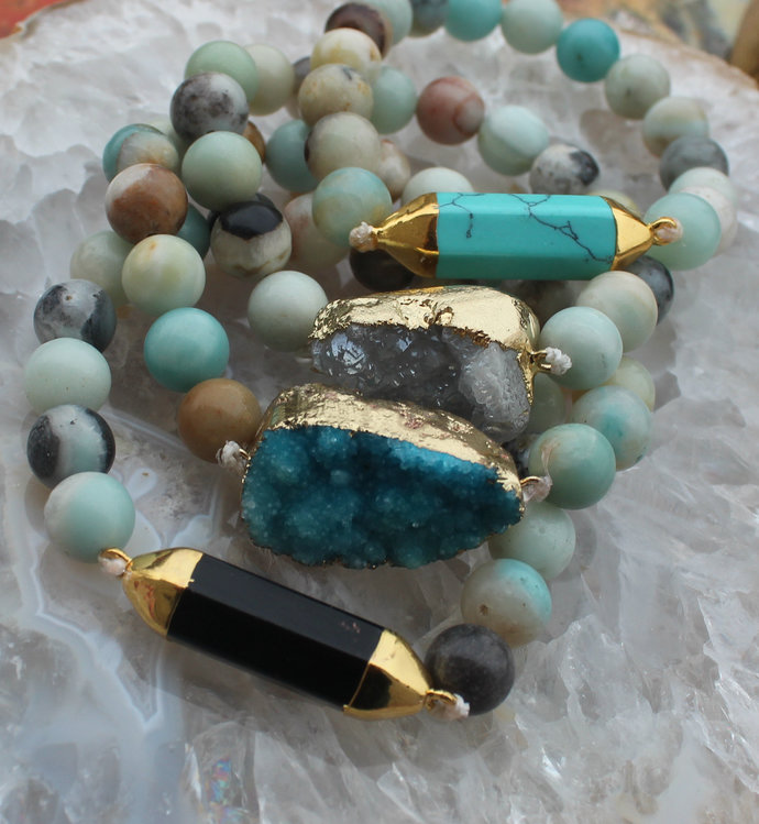 Gemstone Bracelet 10mm Amazonite Choose your Color Druzy Black Blue Stretch
