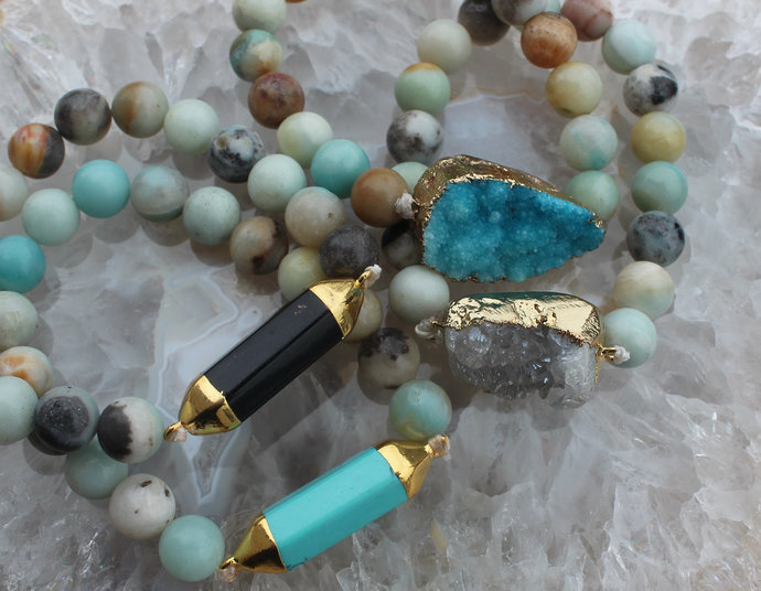 Gemstone Bracelet 10mm Amazonite Choose your Color Druzy Black Blue Stretch