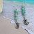 Sea Horse Dangle Earrings, blue green Amazonite Sterling Beach Jewelry