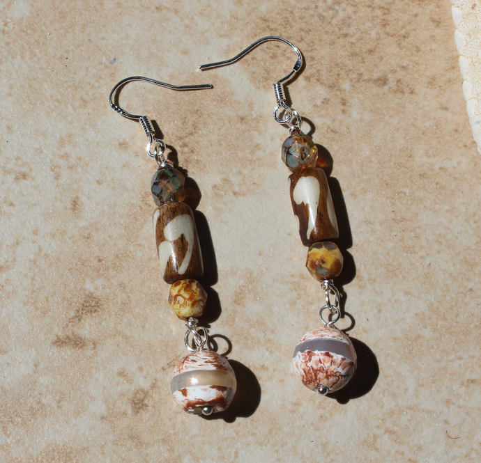 Your favorite Brown & Beige earrings, Czech crystals, bone, Dzi, One of a Kind