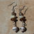 Brown & Beige earrings, Czech crystals, anitque jade, Dzi, Tribal, One of a Kind