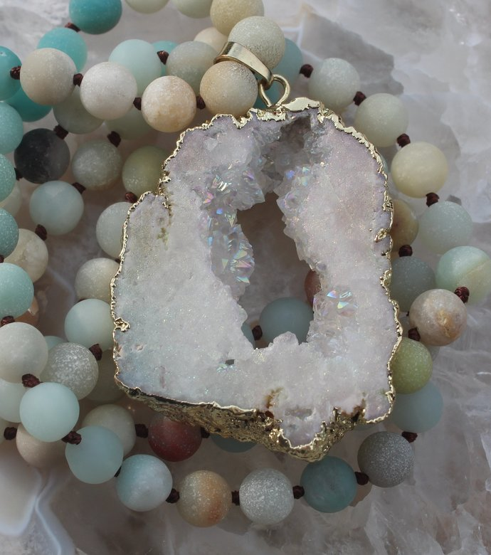 Long Beaded Necklace with Big Aura Druzy pendant Frosted Amazonite Hand knot