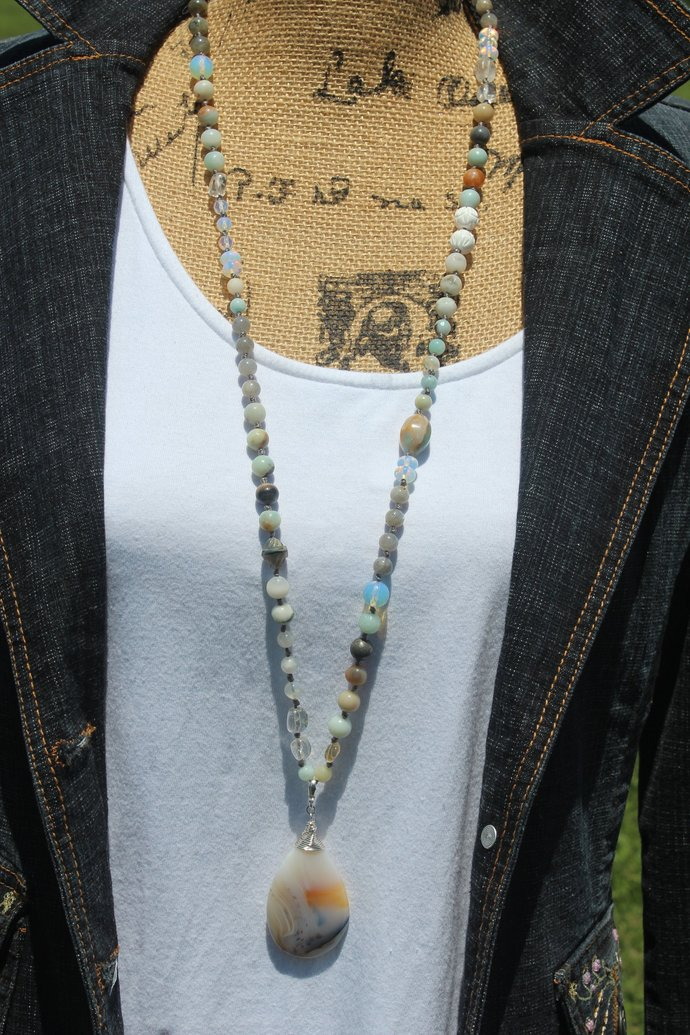 Marine Chalcedony Long Beaded Necklace with Pendant Neutral Go with Anything One