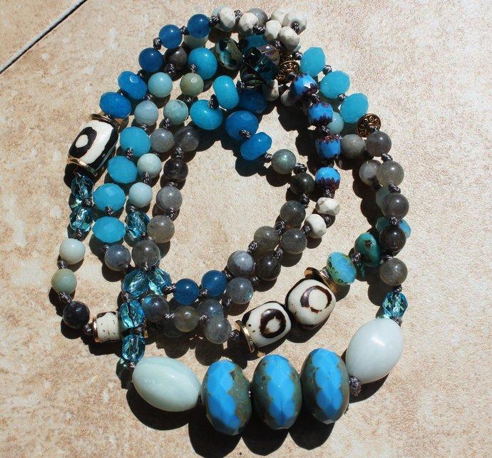Long Beaded Necklace Caribbean Blue gemstone amazonite labordorites Boho Jewelry
