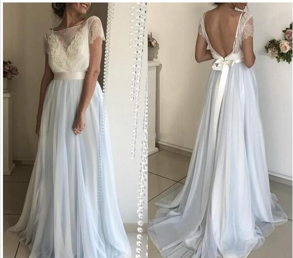 6b1de4d0dd Bateau Neck Short Sleeves Prom Dresses Backless Lace Tulle Long Evening  Gowns