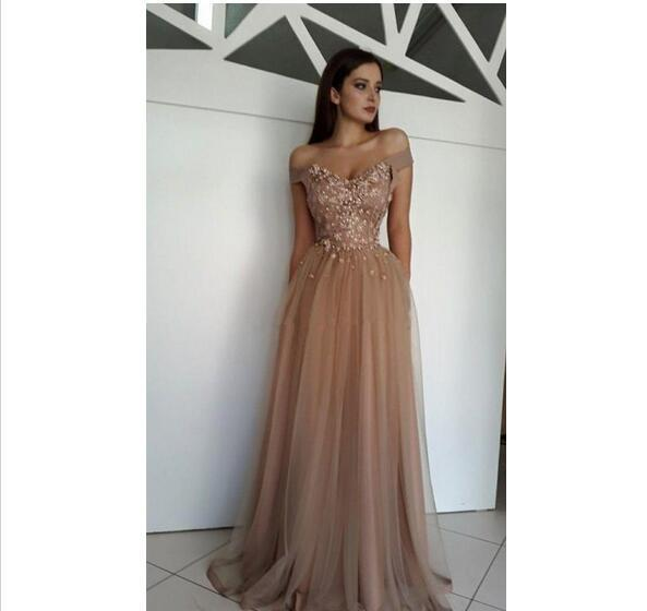 137879dfb1 New Sexy Prom Dresses Off Shoulder Brown Tulle 3D Flowers Crystal Beads Long