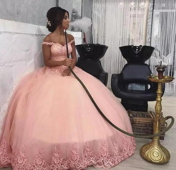 Gorgeous Blush pink Applique Ball Gown Prom Dresses off shoulder sleeve