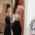 Two Piece Round Neck Black Spandex Prom Dress with Beading