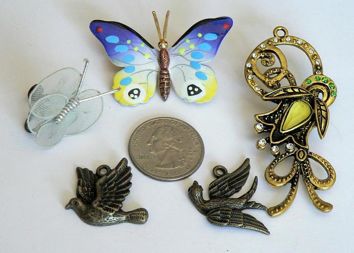 Birds Bee Butterfly Charms and Pins Lot