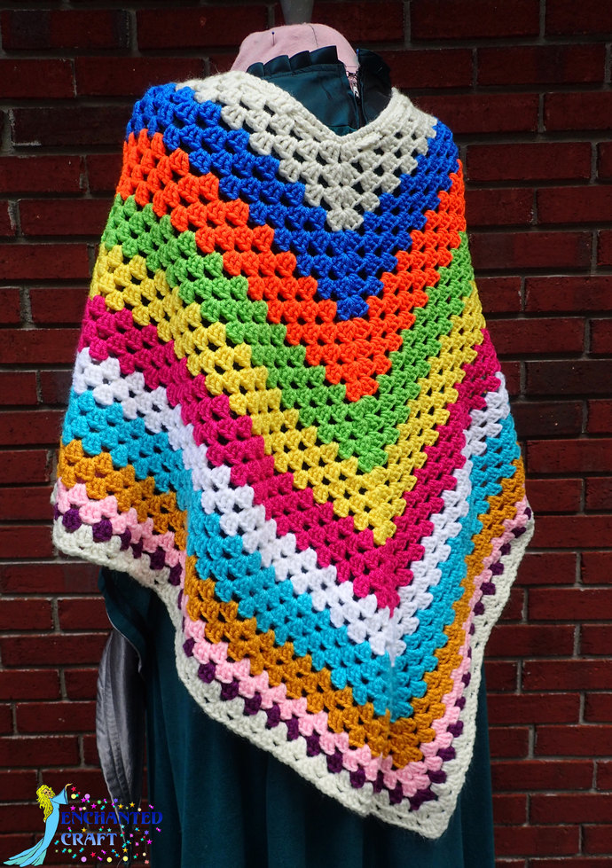 Fabulous Striped colorful crochet poncho, fun, warm, with tassels handmade